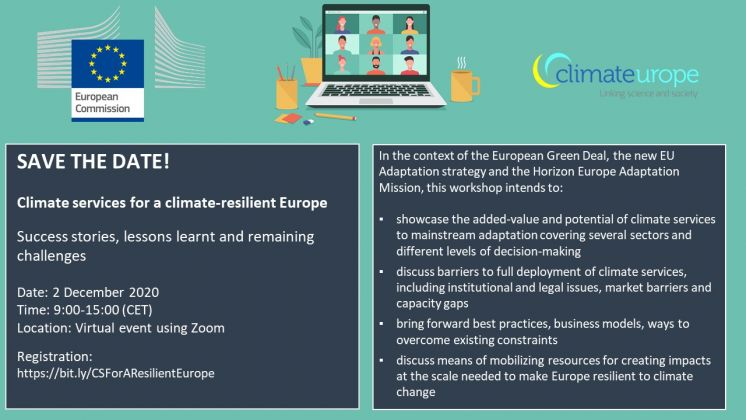 Join the 'climate services for a climate-resilient Europe event: Success stories, lessons learnt, and remaining challenges